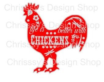 Chicken farm svg cut file / chicken svg / farm life cut file / chicken dxf / rooster svg / life with chickens / farm animals svg