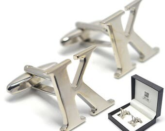 Letter K Cufflinks Silver Name Initial Buttons - Elegant Gift Box