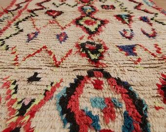 Azilal Rug Moroccan Rug Vintage Rug Berber Rug (Red Diamond)
