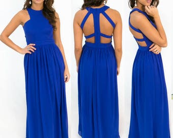 Caged Back Bridesmaid Dress-- in stock and ready to ship!
