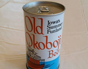 vintage 1979 old okoboji beer can 12 ounce - iowa summer funland - august schell brewing co - new ulm mn - craft ale alcohol lager barware