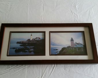 """2 maine lighthouse framed pictures 8""""x18"""" - pemaquid pt & west quoddy head in lubec me - vintage ocean decor wall hanging art - barber pole"""