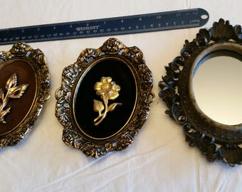 set of 3 vintage oval wall plaques & mirror - clam shell resin rim and gold tone metal floral frames - 3d roses victorian shabby ornate art