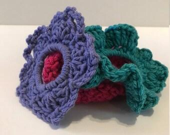 Handmade Crochet Srunchies Set of 3 Brights!
