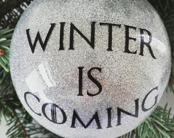 Game of Thrones Christmas Ornament, Winter Is Coming Ornament, House Stark Ornament, Game of Thrones Gift, Direwolf Ornament, Stark Ornament