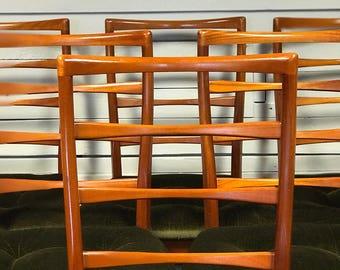 Now SOLD Mcintosh ladderback teak dining chairs • mid-century • retro • vintage • 60s • 70s