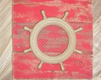 Reclaimed Pallet Wood Wall Art Nautical Ship Wheel Fish Net Rustic Island Decor