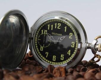 Soviet pocket watch, rare black dial, vintage mechanical pocket watch USSR, MOLNIJA, working.