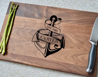 Cutting Board, Personalized Cutting Board, Custom Cutting Board, Personalized Gift, Gift for Him, Gift for Dad, Anchor, Navy Gift, Wood