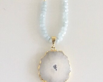 Ocean sapphire, moonstone and solar druzy pendant necklace
