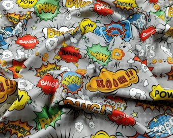 FS161_4 Exclusive Grey Comic Boom Bang Pow Knock What Oops Wow Print High Quality Jersey Scuba Stretch Fabric - Sold Per Metre