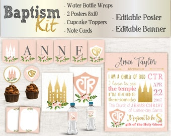 Baptism Girl Kit, Editable LDS Baptism Poster, Cupcake Toppers, Water Bottle Wraps, Note Card, Poster Baptism, Instant Download, banner