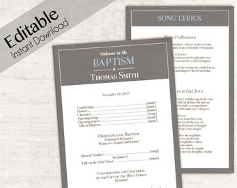 Baptism Program, Editable PDF,  Printable Digital Handout boy Baptism, blue brown, Baptism Program Template