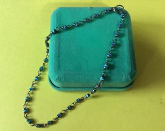 Vintage Mexican 925 Sterling and Blue Cats Eye Necklace