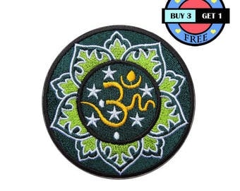 Green Ohm Om Aum Lotus Hindu Embroidered Iron On Patch Heat Seal Applique Sew On Patches