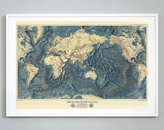 """The Floor of the Oceans Map, Topography of Lands and Oceans of the World - 24""""x36"""" Art Print, Museum Quality"""