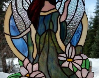 Stained Glass Picture, Angel in the Gargen.  Handmade, copper foil with black patina