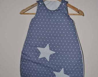 Sleeping bag 1 age white stars on grey background for baby