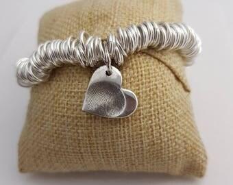 Heavy Weight Sweetie Bracelet with Fingerprint Charm