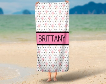 Personalized Flamingos and Dots Summer Towel | Summer Towel Gift | Pool Towel | Beach Towel | Home Decor