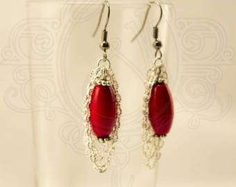 Silver chain earrings and Red wooden bead.