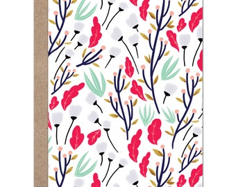 All-over Floral   Pink, Mint, & Navy Flowers and Leaves   Just Because   Floral Card