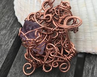 Amethyst freeform pendant