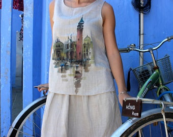 Hand painted linen top, Loose top, Sleeveless hand painted top