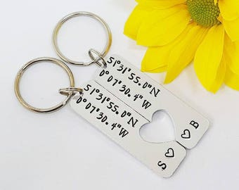 Couple Keyrings, Coordinate Keychains, Wedding, Anniversary, Boyfriend, Valentine's  Gift, Hand Stamped Personalised Keyrings Keychains