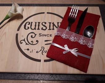 Red burlap cutlery holder