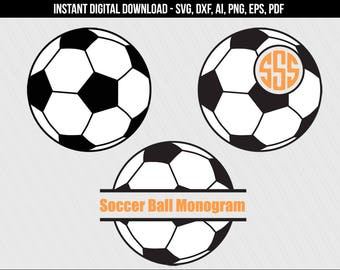 Soccerball svg, Soccer ball monogram frame svg cut files, Soccer ball clipart, Sports svg, Soccerball dxf, Vinyl - svg,dxf,eps,ai,pdf,png