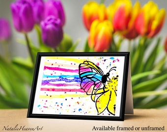 Butterfly Home Decor, Colourful Butterfly Print from Original ACEO Miniature Painting, Girly Wall Art, Girly Prints, Nature Lover Gift Art