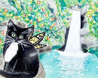 Tuxedo Cat Print, Fairy Cat Art, Black and White Cat Painting, 6x4 Inch Print, Fairy Cat Print, Fantasy Cat Art, Cat Lover Gift, Waterfall