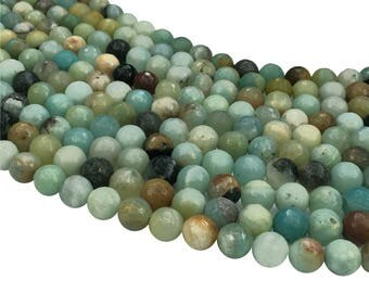 1Full Strand Amazonite Faceted Beads 6mm 8mm 10mm Wholesale Amazonite Gemstone For Jewelry Making
