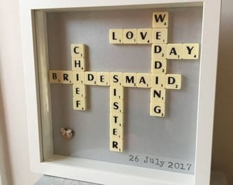 Maid of Honour Gift Scrabble Frame - A Unique and Personalised Gift for your special Maid of Honour and Bridesmaids
