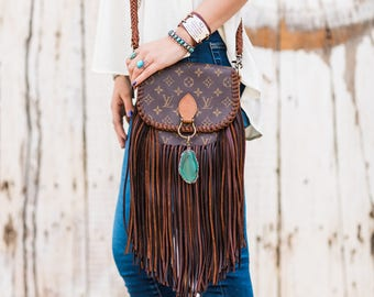 The World Travler  Louis Vuitton, fringe, upcycle, gift for her, boho, western, cowgirl, gypsy, crossbody bag, purse, Christmas