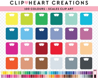 100 scale Clipart, Commercial use, PNG,  Digital clip art, Digital images, Rainbow digital scrapbooking clip art, scales clipart, weighing