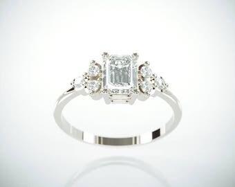 SALE! 14K White Gold Moissanite and Diamonds Engagement Ring  | Charles & Colvard Forever One Emerald Cut Mossanite Diamonds engagement ring