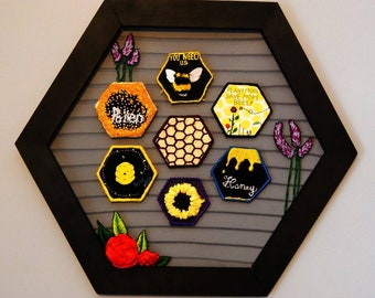 Honey Comb Patch Wall hanging (hand embroidered,painted and printed)