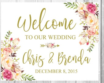 Welcome To Our Wedding Sign, Vintage Gold Floral Boho Sign, Flower Bohemian Wedding Sign, Printable, Customized