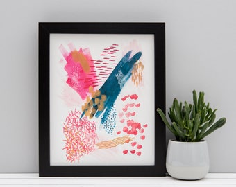 "Watercolour Abstract Print - featuring real gold paint detailing - Pink Navy and Gold Art - 8x10"" Charity Print"