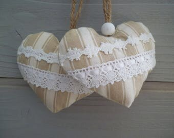 Beige fabric door cushion and hearts lace - set of two hearts - heart pillow ticking - wall decor - fabric hearts