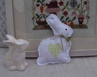 Easter Bunny in white and green Bell - little shabby Bunny - spring decoration _ Bunny in white fabric