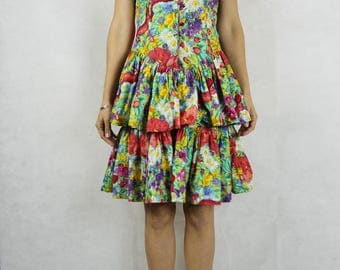 RUBI PESINI Vintage Colourful Floral Cotton 80s Frill Dress Size XS 8