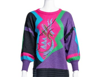 1980's Multicolored Sweater with Front Detail