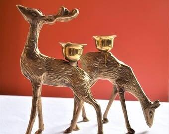 Vintage Set Of 2 Brass Deer Figurines/Brass Deer Ornamental Brass Candle Holders