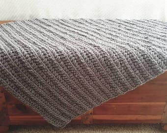 Chunky Crochet Blanket, Afghan, Crochet Blanket, Couch Throw, Gray Blanket, Baby Blanket, Security Blanket, Baby Afghan