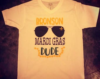 Mardi Gras Dude Monogrammed t-shirt. Aviator tee for New Orleans Parades for boys.