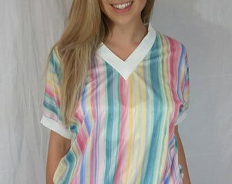 Vintage 90s Striped Rainbow Shirt • Size XL • Rainbow Colors Blouse • Colorful Vintage Top • 90s Blouse • 90s Aesthetic • V Neck Shirt