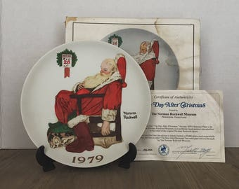 Vintage Norman Rockwell Santa Plate, The Day After Christmas, Limited Edition, Norman Rockwell Museum, Authentic, 1979, Holiday Plate